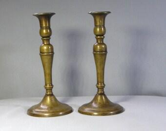 Pair of Biedermeier antique brass candle holder