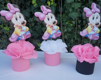 Disney Baby Minnie Mouse Centerpiece Birthday Party Baby Shower Baby First  Birthday Guest Table Decoration Food