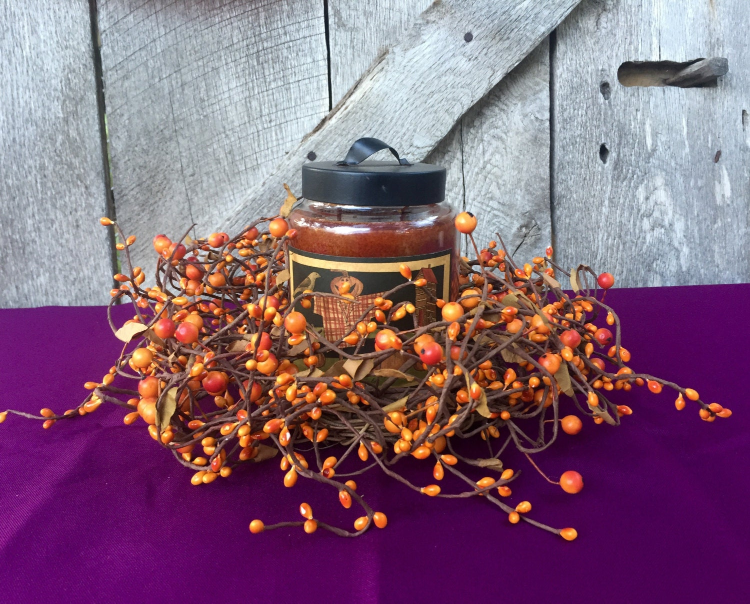 Pip berry candle ring fall wreath decor grapevine