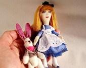 SALE Little cloth doll Alice in Wonderland and White rabbit Redhead textile doll Cute Nursery decor Handmade fabric dolls