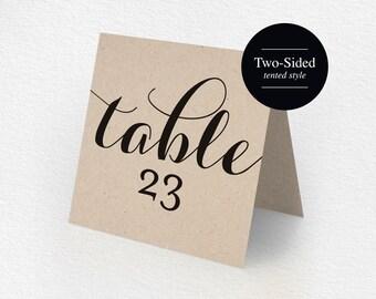 Printable Table Numbers, Printable Wedding Table Numbers, Tented Table Number, Kraft, Rustic Wedding, DIY, PDF Instant Download #BPB133_7