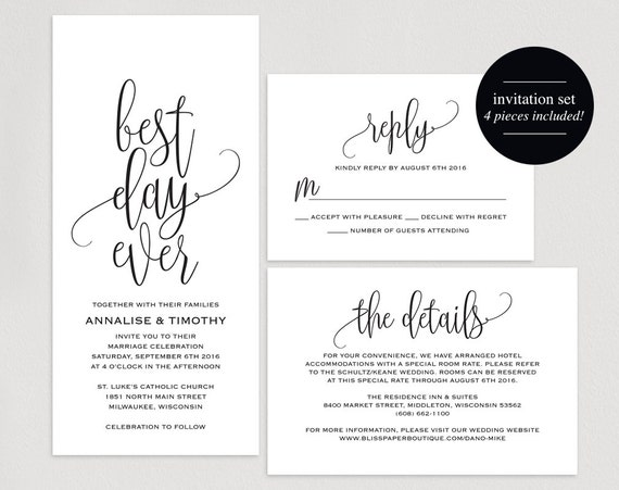 Best Wedding Invitations Ever: Best Day Ever Wedding Invitation Wedding By BlissPaperBoutique