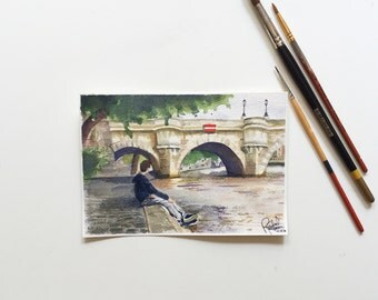Square du Vert-Galant, Paris-- Original Watercolor Painting
