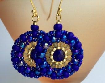Royal Blue Beaded Earrings- Beadwoven Earrings- Round Earrings- Brick stitch Earrings- Seed Beads Earrings- Free Shipping US only