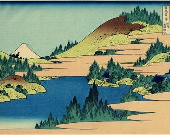"Japanese Ukiyo-e Woodblock print, Katsushika Hokusai, ""The lake of Hakone in Sagami Province from the series Thirty-six Views of Mount Fuji"""