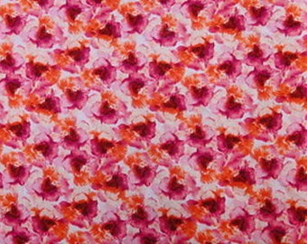 100% Rayon with Orange / Fuchsia Floral Print Fabric by the yard