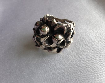 Vintage Silver Flower Bud Ring
