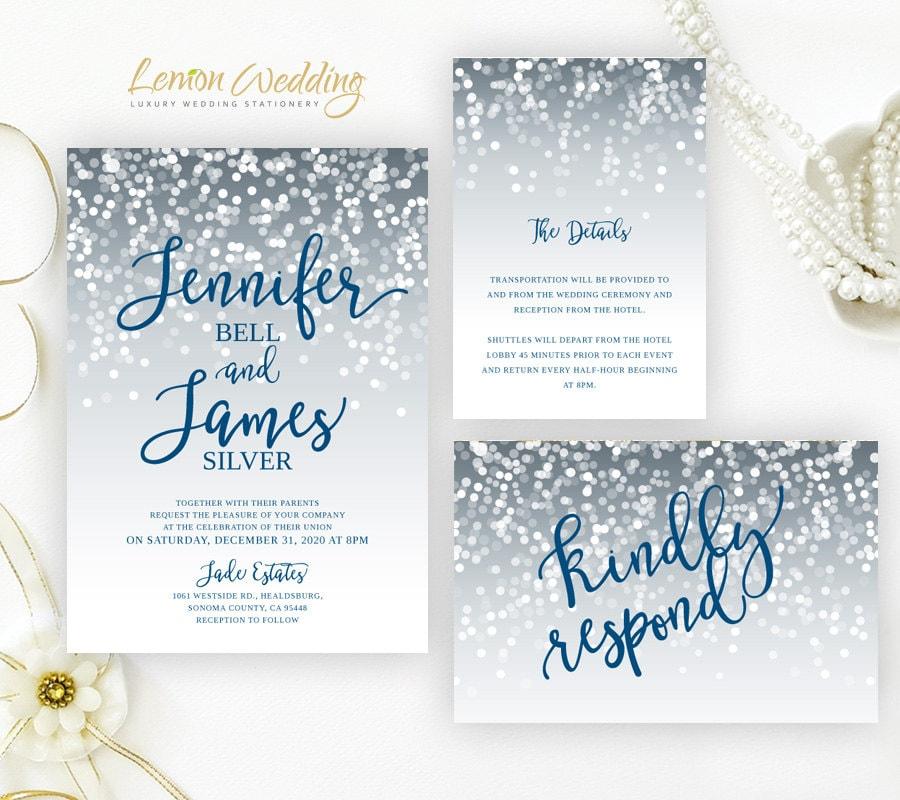 Discount Photo Wedding Invitations: Cheap Wedding Invitations Packs Silver And Royal Blue