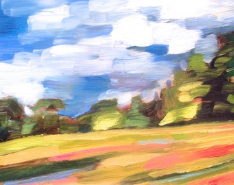 "Vermont, Original Plein Air Oil Painting, ""Spilling Gold"""