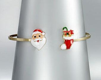 CLEARANCE - Santa & Stocking Charm Cuff Bracelet