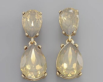 Topaz Opal Tear Drop Crystal Earrings