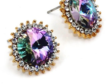 Big diamond multi-colored earrings