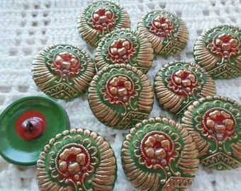 SALE 11 new Czech art glass buttons 27mm front and back painted lacy Christmas colors FREE SHIPPING