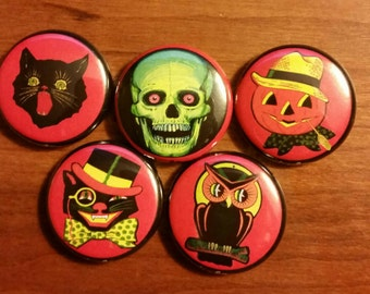 Vintage Inspired Halloween Set 1 inch Pins