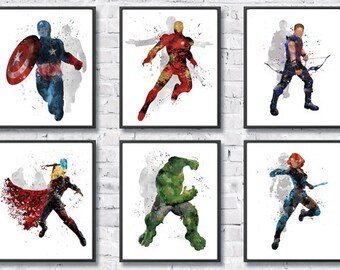 Avengers Watercolor Set 6, Superhero Art, Iron man, Captain America, Hulk, Thor, Hawkeye, Black Widow, Marvel, Wall Art, Kids Room Decor