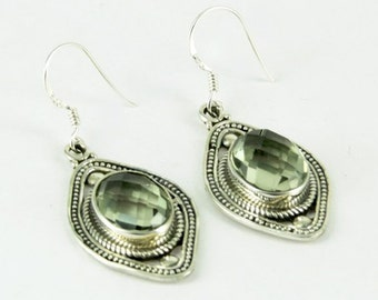 925 Silver Earrings - Prasiolite Earrings - Green Amethyst Earrings - Fine Silver Earrings - Bridesmaids Earrings - Womens Dangle Earrings