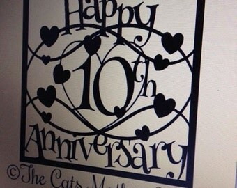 Happy 10th Anniversary Paper Cutting Template - Commercial Use