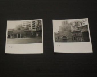 50's black and white photos of the church Panagia Kapnikarea, Ermou street, Athens, Greece - Vintage photos - mid century photos