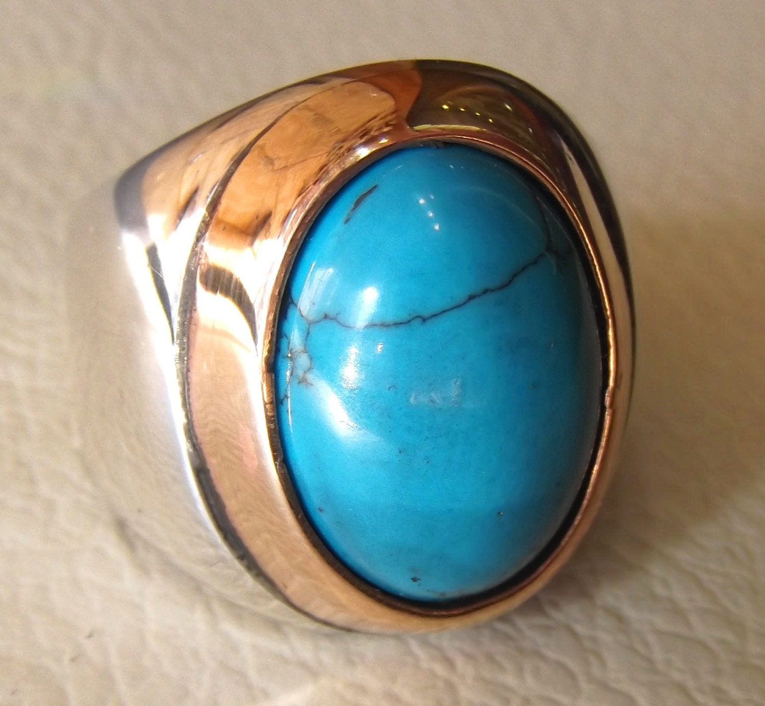 turquoise heavy sterling silver ring blue oval arab