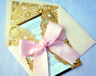Elegant Gold Lace Wedding Invitation