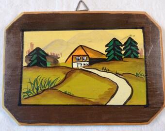 Vintage German Painting on Wood Wall Plaque