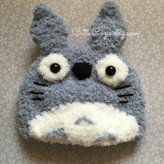 Knitting Pattern For Totoro Hat : Totoro Hat Hand Knit Grey Beanie Baby Shower Birthday Gift