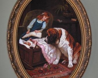 ARTHUR ELSLEY Art print on canvas in oval frame