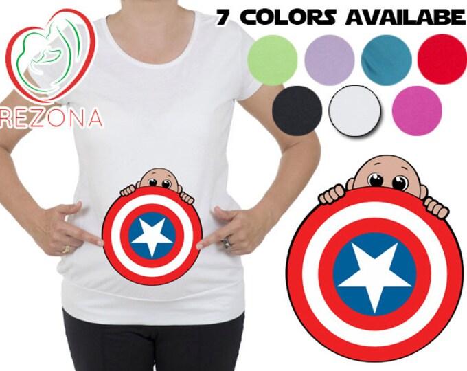 My Peeking Superhero Maternity, pregnancy Halloween New Captain America Shield T-Shirt by Rezona Pregnancy Store, baby shower gift