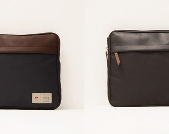 "Canvas Handbag / 14"" Laptop Sleeve / Laptop Pocket / Laptop Pouch / Travel Handbag"