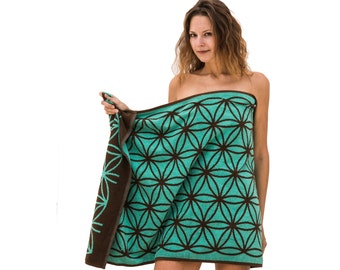 Designer Bath Towel with Flower of Life Mercaba Gift Sacred Geometry Psychedelic Gift Trippy