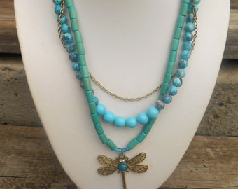 Dragon Fly Pendant Necklace with Blue Beads