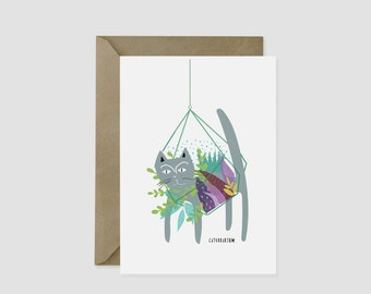 Terrarium Silly Cat Card