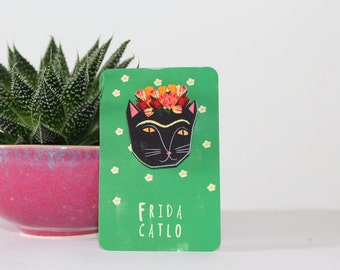 Frida Kahlo Cat Brooch