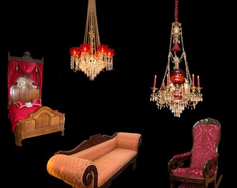 Victorian Era Furniture ( Chandeliers, Bed, Couch, Chair)Transparent PNG Overlays for Photoshop and Photoshop Elements