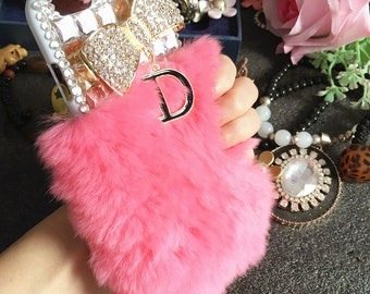 Bling Baby Pink Soft Fluffy Fur Furry Sparkly 3D Golden Bow Letter D Pendant Crystals Rhinestones Diamonds Hard Cover Case for Mobile Phones