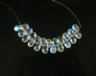 Rainbow moonstone faceted pear beads AAA+ 7.5-8mm 22pcs
