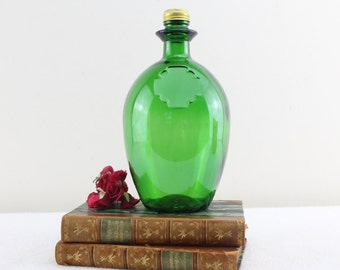 Vintage glass bottle green from the 70s