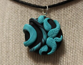 Black and Blue Abstract Polymer Clay Necklace Pendant