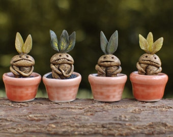 Halloween. Miniature Mandrake root. Dollhouse witches . In 1/12 scale