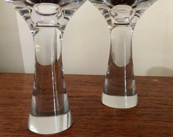 Mid century TAPIO WIRAKKALA lead crystal glass candlestick pair for IITALIA Finland signed