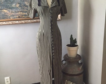 Vintage black and tan striped dress/maxi/90s/Small/Medium