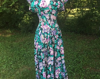 VIntage Purple and green floral dress/80s/Small