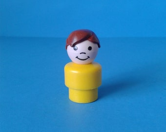 """Fisher Price Little People """" #2582 Marina Brown Hair Boy """" 1970's"""