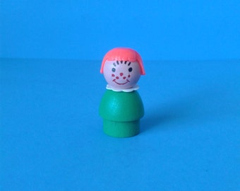 """Vintage Fisher Price Little People """" #663 Play Family Red Hair Freckle Girl """" 1970's"""