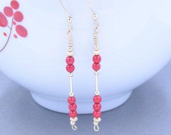 Bead Earrings~Coral Bead Earrings, Gemstone Earrings, Gold Bead Earrings, Custom Bead Earrings, Red Coral Earrings