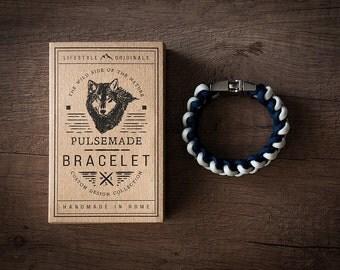 Men's bracelet-white woman-blue unisex Night-Pulsemade Xark Collection-Handmade paracord 550 Bracelet Mens-Womens white-Midnight Blue