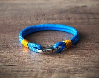 Sailor Bracelet men-Women, jewelry for men women, nautical bracelet colonial blue-goldenrod, Christmas gift, bracelet for her and him