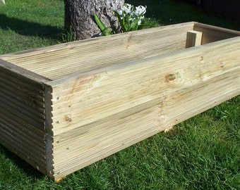Large decking wooden garden planter, 800, 1000 or 1200mm wood trough, handmade