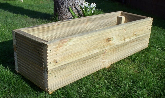 Large decking wooden garden planter 800 1000 or 1200mm wood for Flat pack garden decking