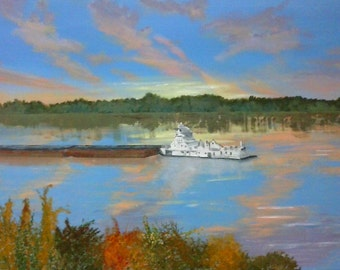 Order a Custom Painting, Original Acrylic Painting, Barge and Towboat on River at Sunset Painting.